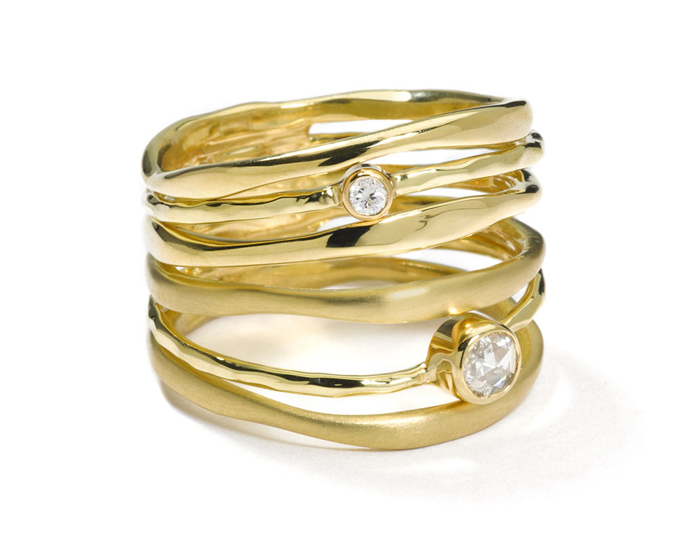 IPPOLITA 18K Gold Diamonds Stack Ring with Diamonds.