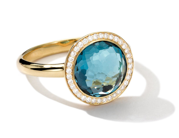 IPPOLITA 18K Rock Candy Mini Lollipop Ring in London Blue Topaz with Diamonds.
