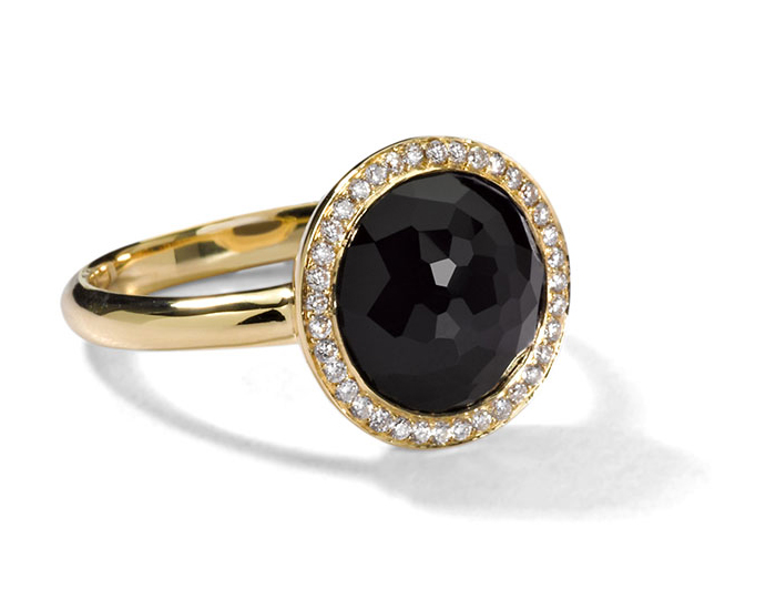 IPPOLITA 18K Gold Rock Candy Mini Lollipop Ring in Onyx with Diamonds.