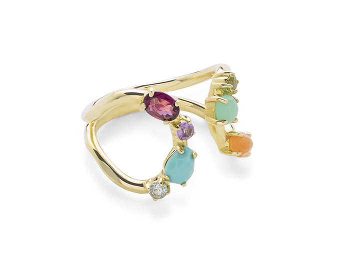 IPPOLITA 18K Gold Rock Candy ring in Rainbow.
