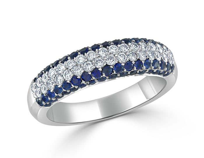 Sapphire and round brilliant cut diamond band in 18k white gold.