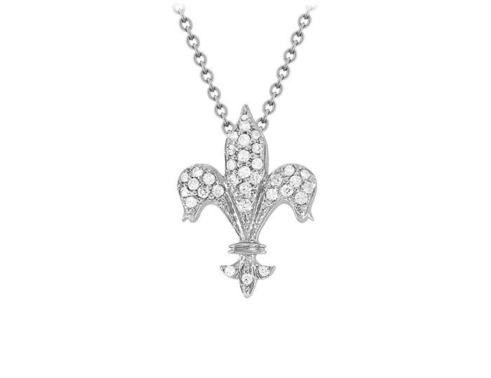 Roberto Coin Tiny Treasure Collection diamond Fleur-de-lis pendant in 18k white gold.