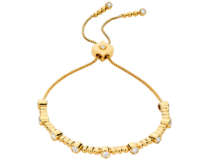 Sara Weinstock Isadora collection round brilliant cut diamond bolo bracelet in 18k yellow gold.