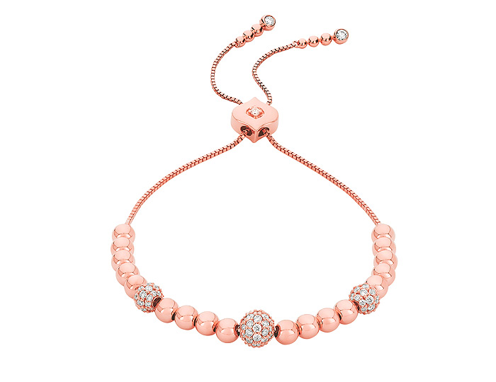 Sara Weinstock Isadora collection round brilliant cut diamond bracelet in 18k rose gold.