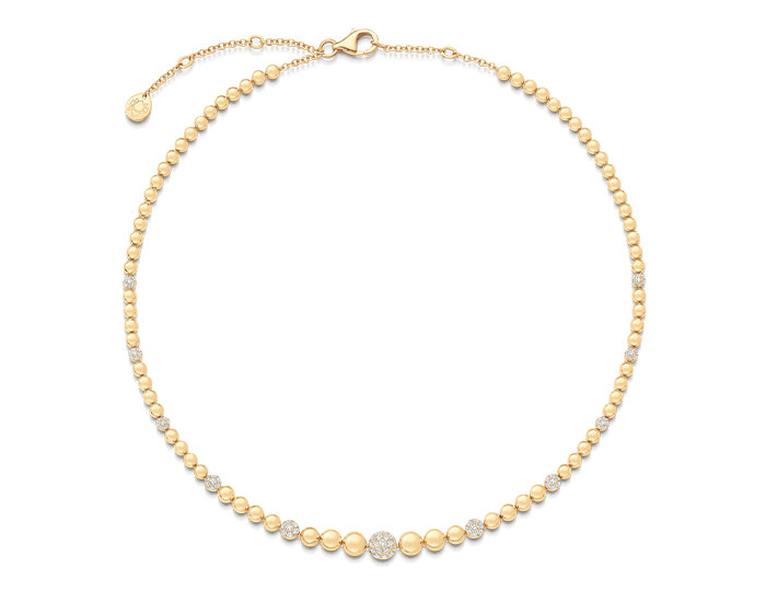 Sara Weinstock Isadora Collection round brilliant cut diamond necklace in 18k yellow gold.