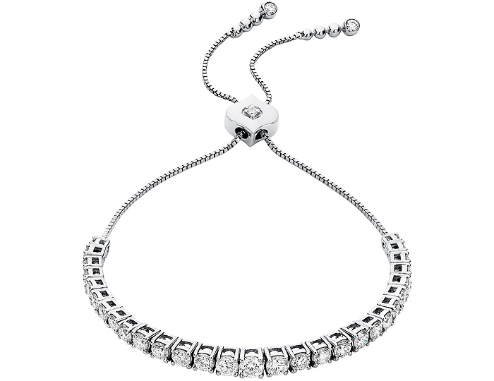 Sara Weinstock Isadora collection round brillliant cut diamond bolo bracelet in 18k white gold.