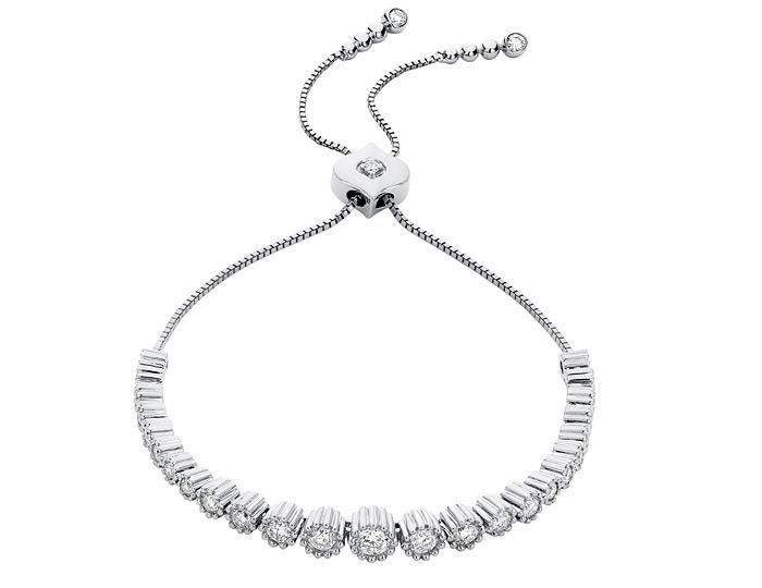 Sara Weinstock Isadora collection round brilliant cut diamond bracelet in 18k white gold.