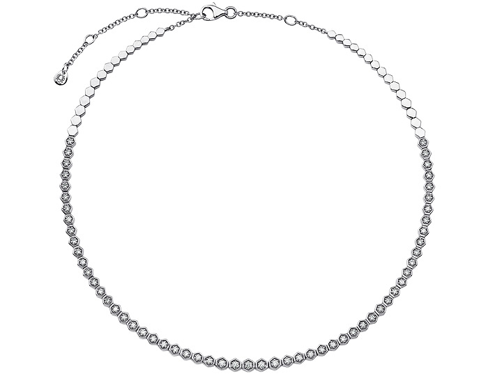 Sara Weinstock Isadora collection round brilliant cut diamond choker neckalce in 18k white gold.