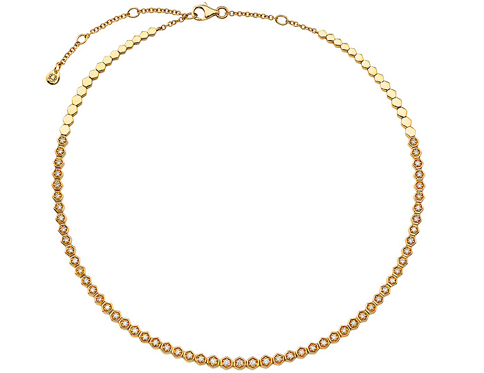 Sara Weinstock Isadora collection round brilliant cut diamond choker necklace in 18k yellow gold.