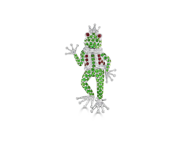 Tsavorite, ruby and round brilliant cut diamond frog brooch in 18k white gold.