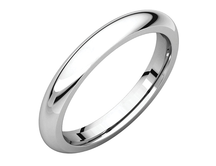 Men's 3mm wedding band in 14k white gold.