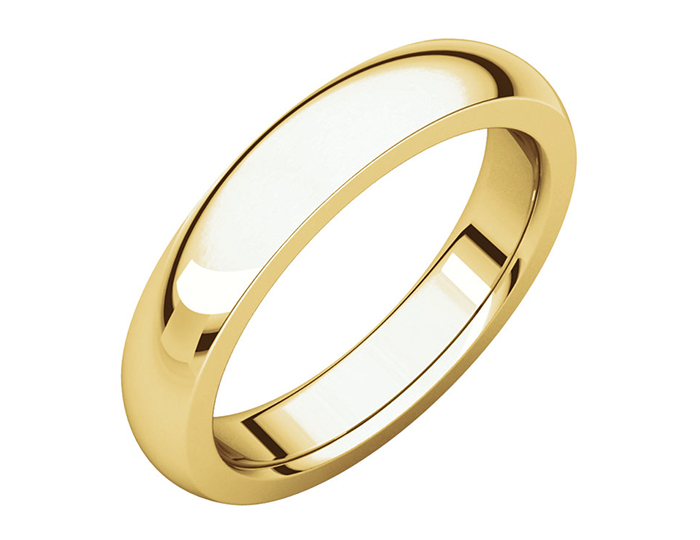 Men's 4mm wedding band in 14k yellow gold.