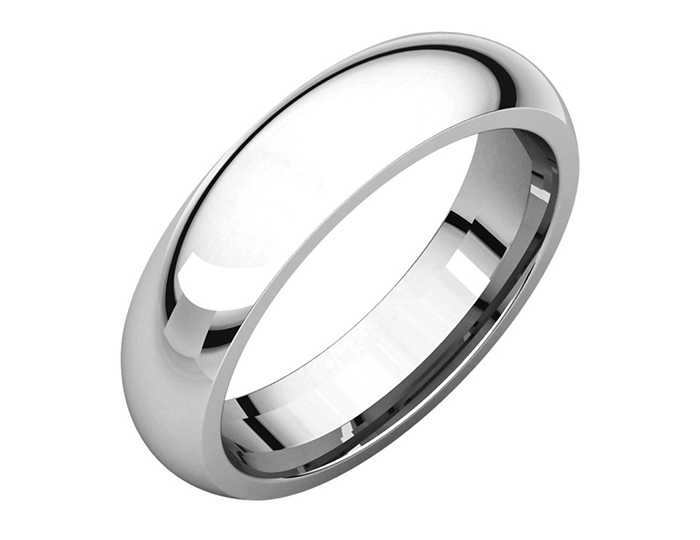 Men's 5mm wide wedding band in 18k white gold.