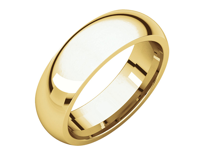 Men's 6mm wide wedding band in 14k yellow gold.