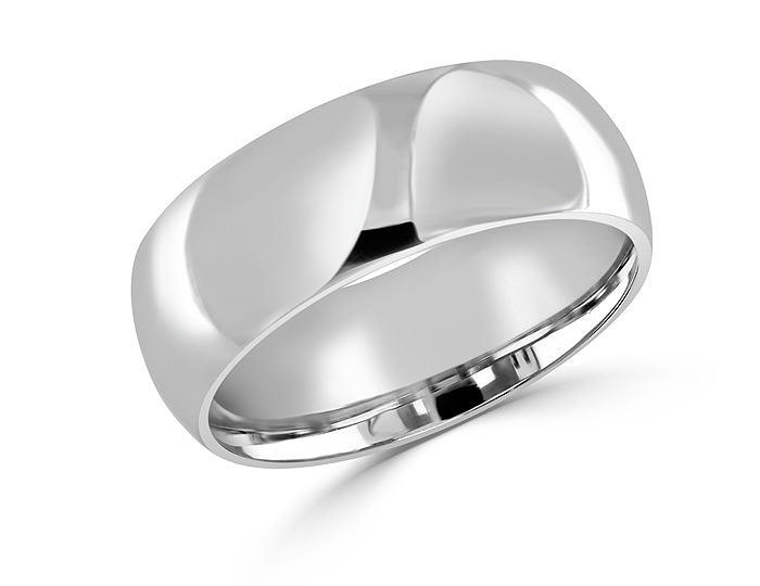 Men's 8.0mm wedding band in platinum.