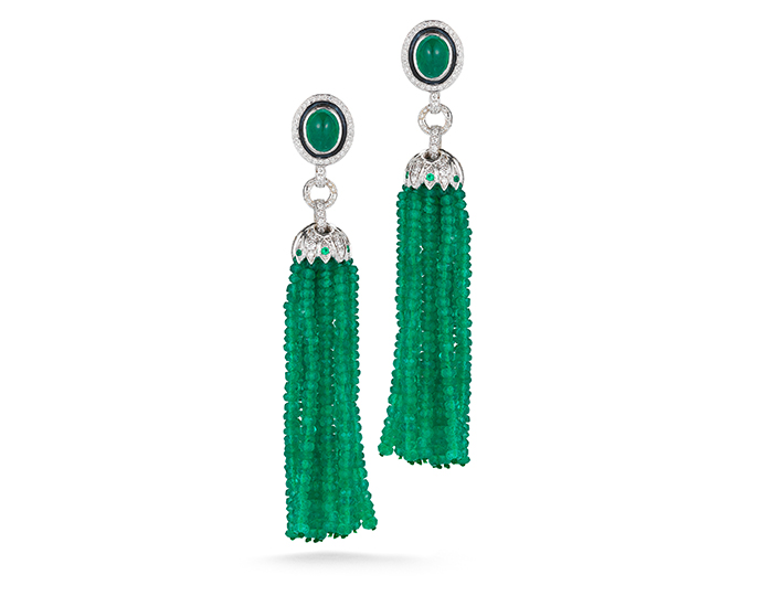 Tassle Collection emerald and diamond earrings in 18k white gold.