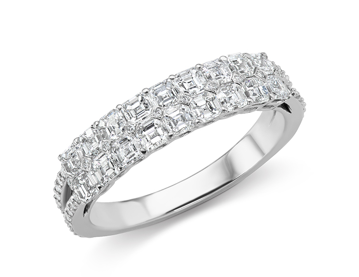 Asscher cut and round brilliant cut diamond band in 18k white gold.