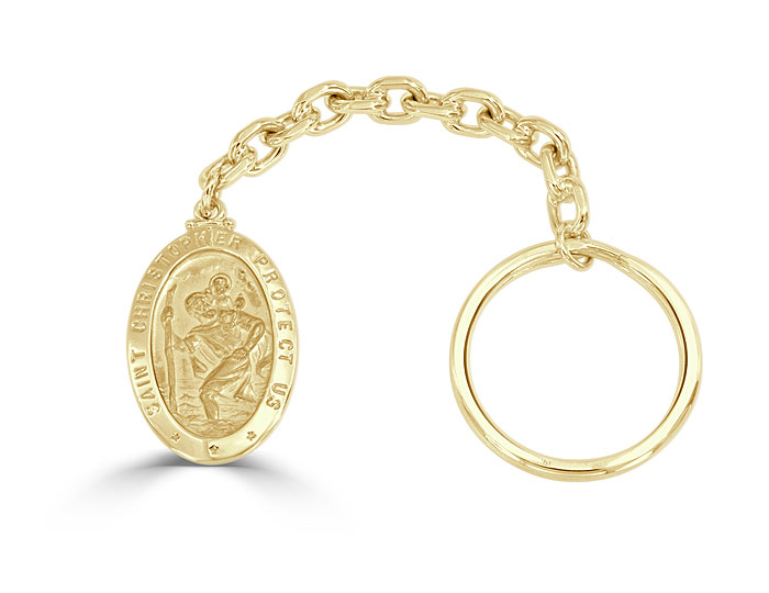 St. Christopher key chain in 14k yellow gold.