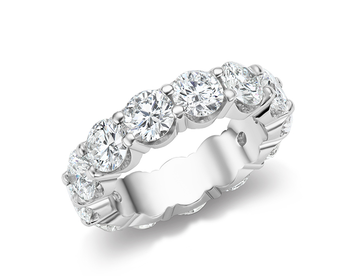 Round brilliant cut diamond eternity band in platinum.