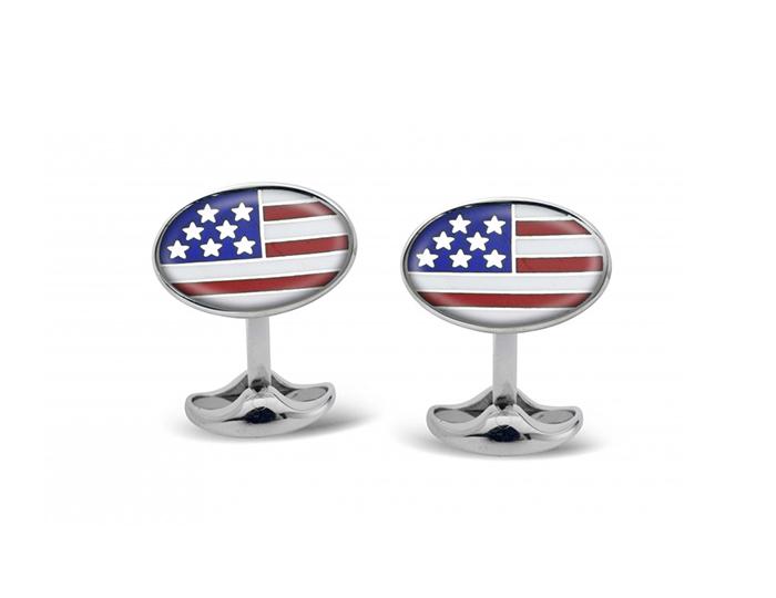 Deakin & Francis American flag enamel cufflinks in sterling silver.