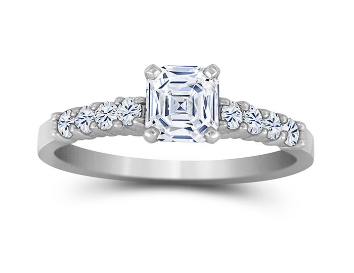 Asscher cut center diamond and round brilliant cut diamond engagement ring in platinum.