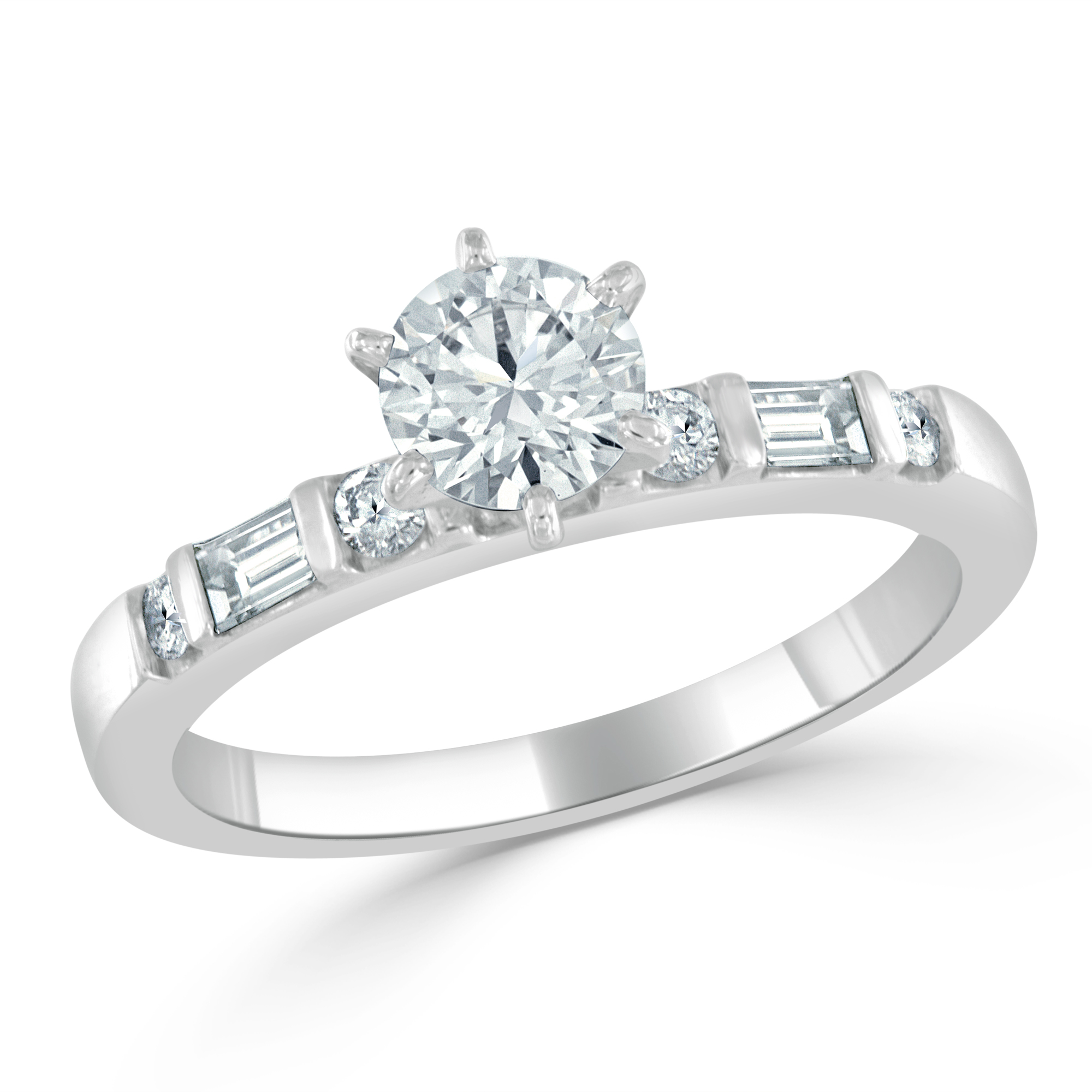 Round brilliant cut center diamond and baguette and round brilliant cut diamond engagement ring in platinum.