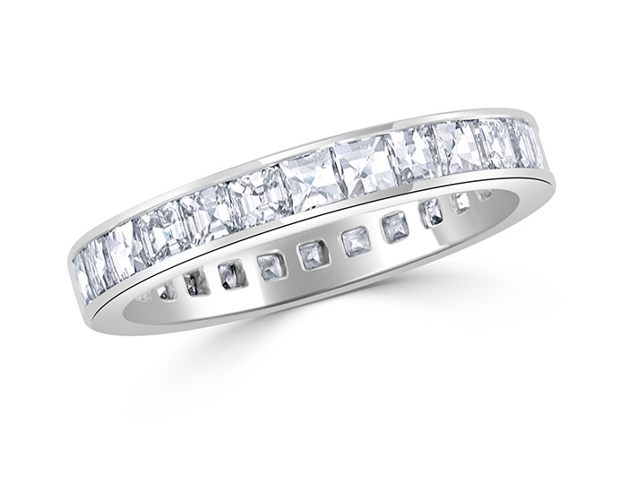 Bez Ambar blaze cut and asscher cut diamond band in platinum.