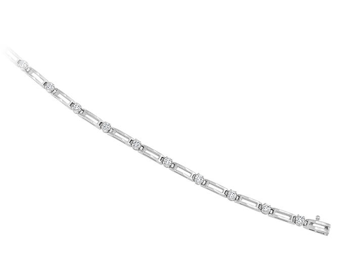 Round brilliant cut diamond bracelet in 18k white gold.