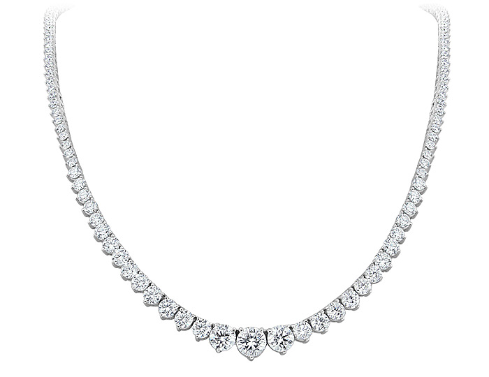 Round brilliant cut diamond graduated eternity necklace in 18k white gold.