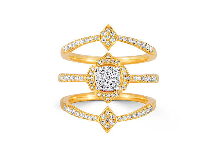 Sara Weinstock Leela collection round brilliant cut diamond ring in 18k yellow gold.