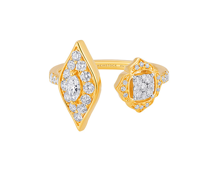 Sara Weinstock Leela collection marquise cut and round brilliant cut diamond ring in 18k yellow gold.