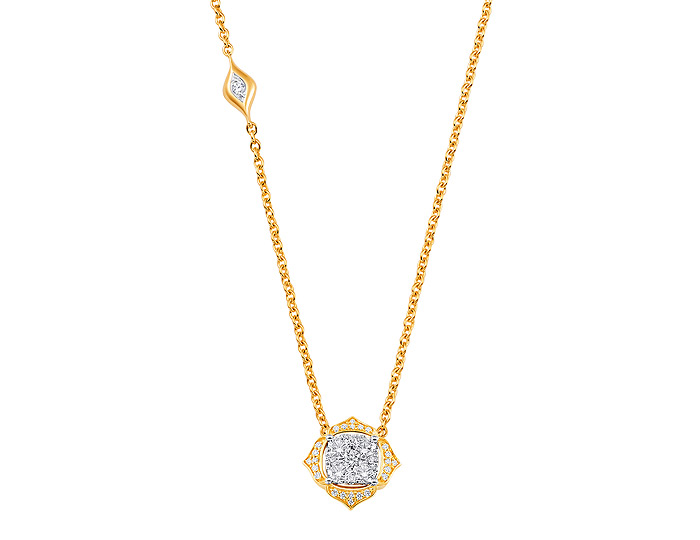 Sara Weinstock Leela collection round brilliant cut diamond necklace in 18k yellow gold.