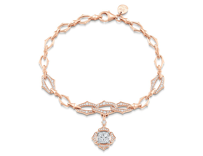 Sara Weinstock Lucia Collection round brilliant cut diamond bracelet in 18k rose gold.