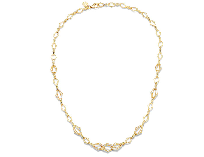 Sara Weinstock Lucia Collection round brilliant cut diamond necklace in 18k yellow gold.