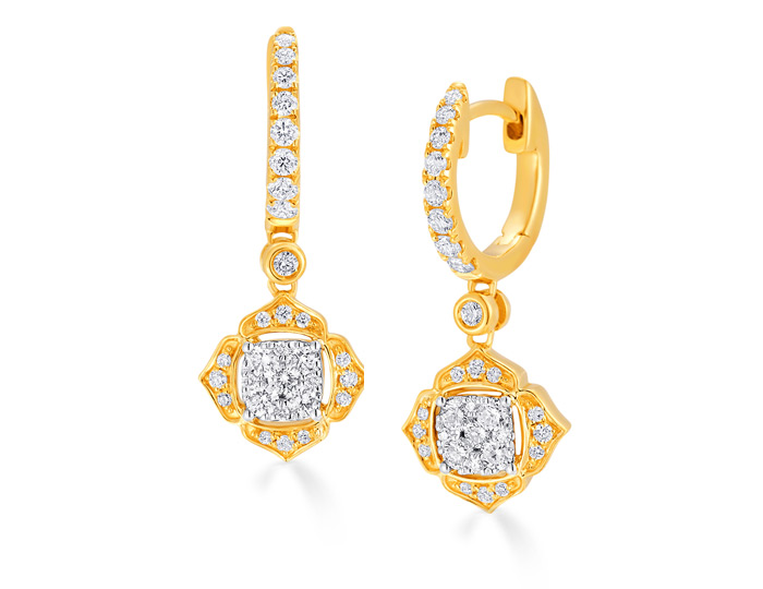 Sara Weinstock Leela collection round brilliant cut diamond earrings in 18k yellow gold.