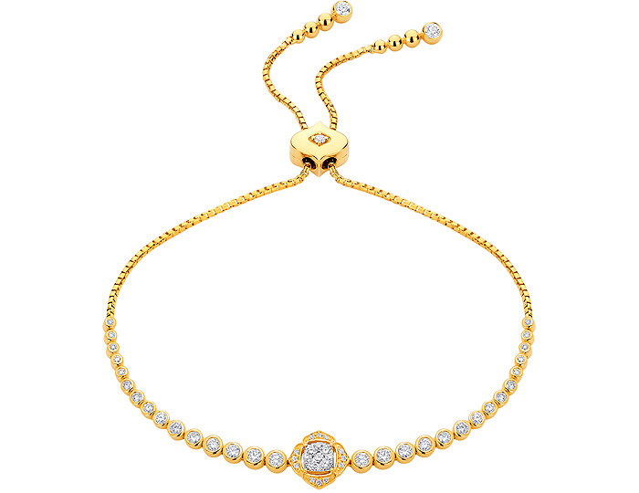 Sara Weinstock Leela collection round brilliant cut diamond bolo bracelet in 18k yellow gold.