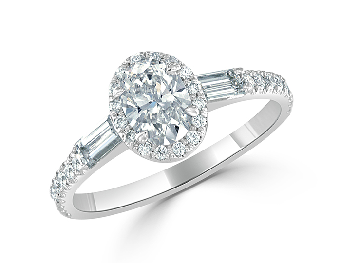 Bez Ambar oval, baguette and round brilliant cut diamond ring in platinum.
