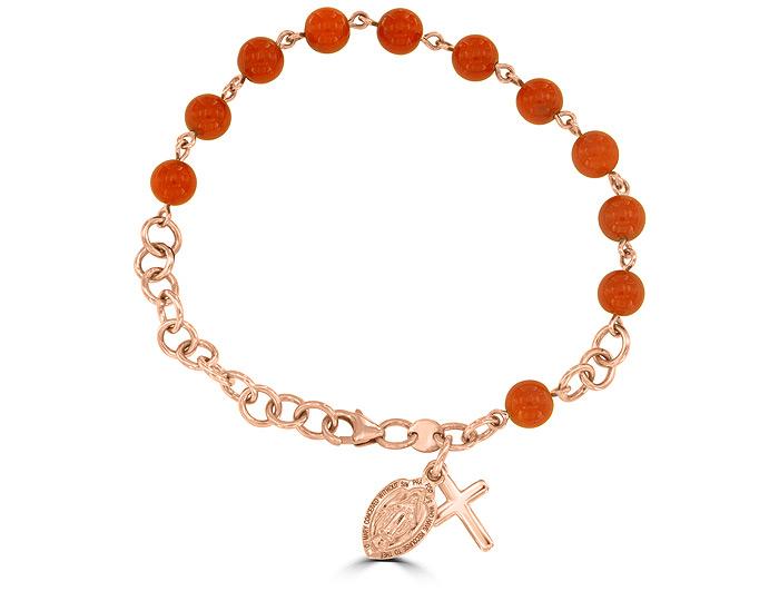 Handmade coral rosary bracelet in 18k rose gold.