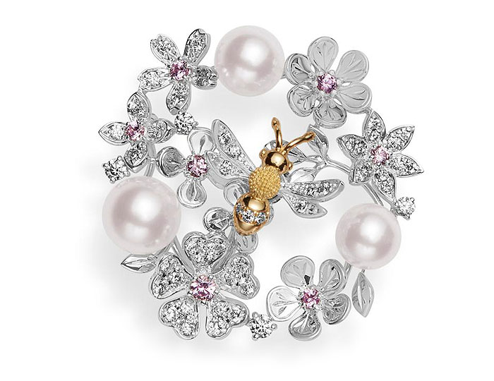 Mikimoto Japan collection 6.5x7mm akoya pearl, pink sapphire and round brilliant cut diamond brooch in 18k white gold.