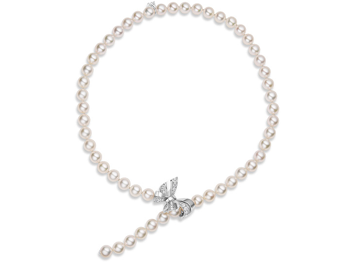 "Mikimoto 7.5x7mm Akoya pearl 17"" Bracelet/Lariat necklace with round brilliant cut diamond ribbon clasp in 18k white gold."