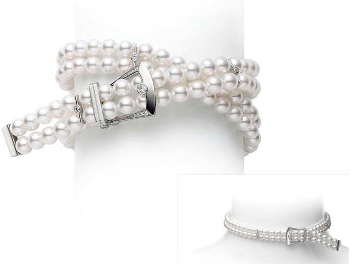 Mikimoto Japan collection akoya pearl and round brilliant cut diamond bracelet or choker with buckle in 18k white gold.