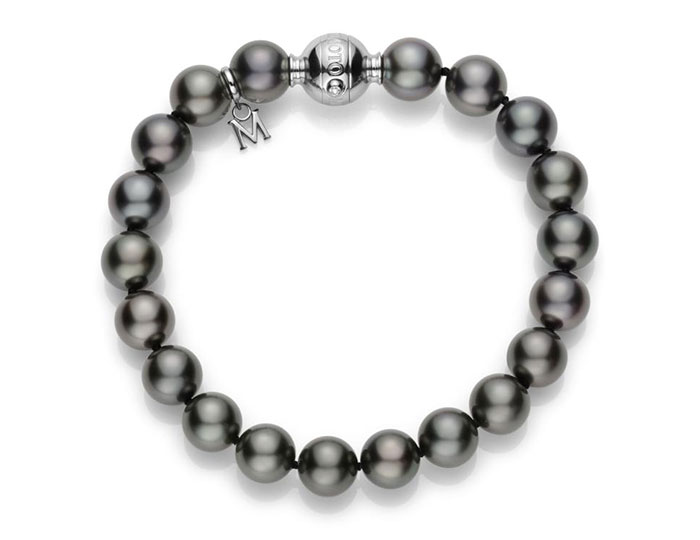 Mikimoto black South Sea pearl bracelet in 18k white gold.