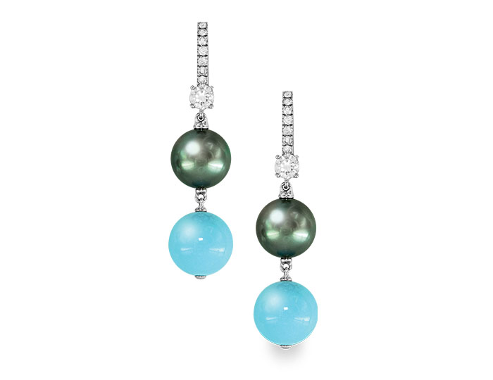 Mikimoto black south sea cultured pearl earrings with turquoise and diamonds, set in 18k whtie gold.
