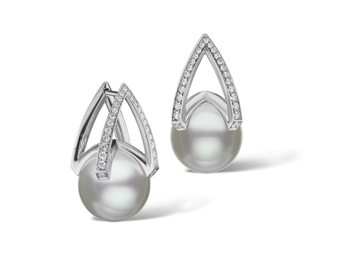 Mikimoto Japan collection 11mm South Sea pearl and round brilliant cut diamond earrings in 18k white gold.
