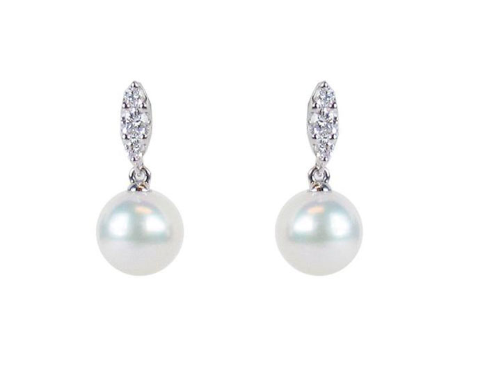 Mikimoto Morning Dew Collection akoya pearl and round brilliant cut diamond earrings in 18k white gold.