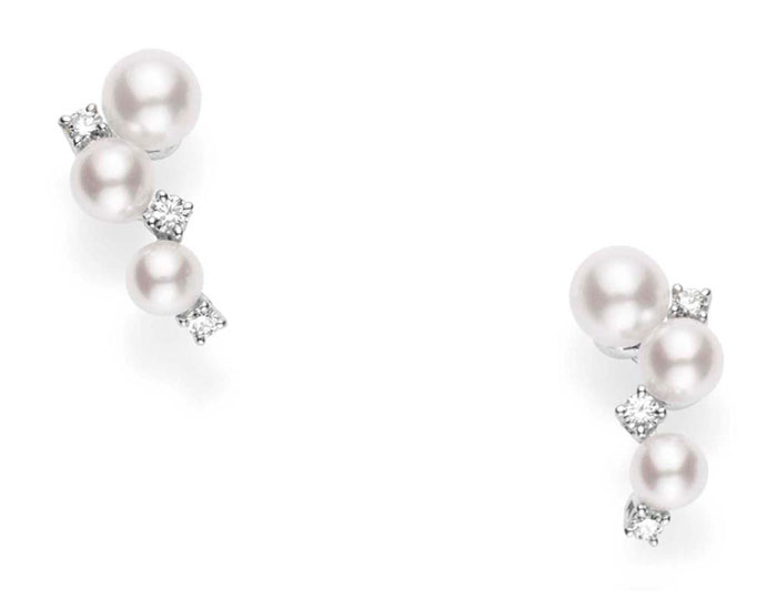 Mikimoto akoya pearl and round brilliant cut diamond cluster earrings in 18k white gold.