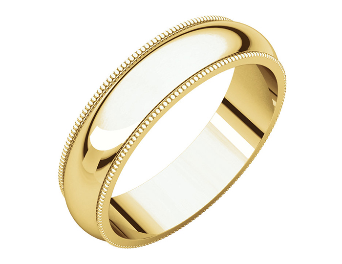 Men's 5mm wedding band in 14k yellow gold.