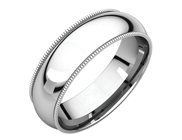Men's 6mm wedding band in 14k white gold.