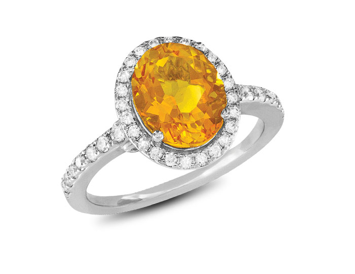 Citrine and round brilliant cut diamond ring in 18k whtie gold.