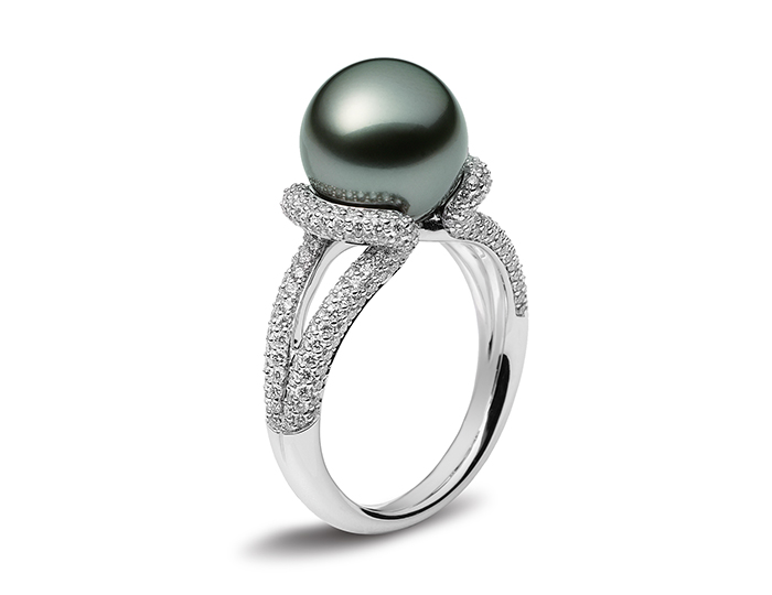Mikimoto black South Sea pearl and round brilliant cut diamond ring in 18k white gold.